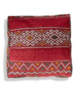 moroccan floor cushion kilim red