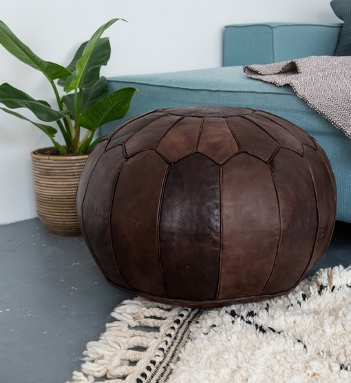 premium chocolate brown pouf boho interior