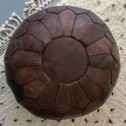 premium chocolate brown pouf on rug