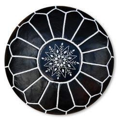 moroccan leather pouf black