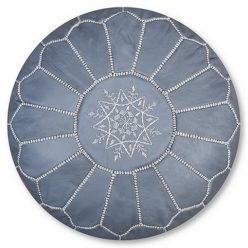 moroccan leather pouf grey