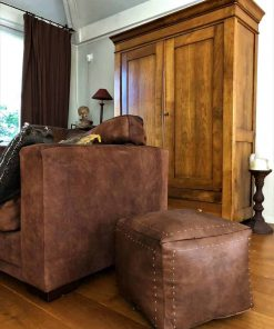 havana square leather pouf