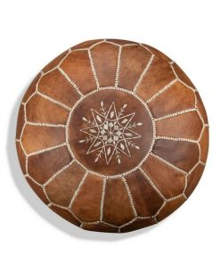 moroccan leather pouf cognac brown