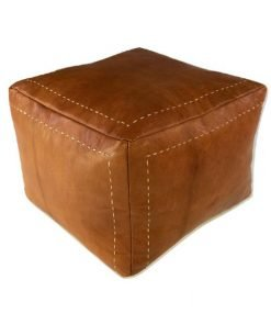 square cognac leather pouf