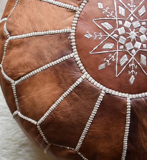moroccan leather pouf cognac brown close up