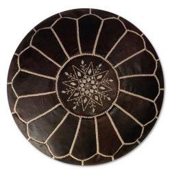 leather pouf dark brown