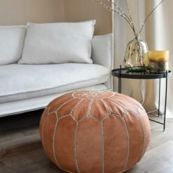 leather pouf natural brown sofa