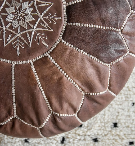 leather pouf wood brown
