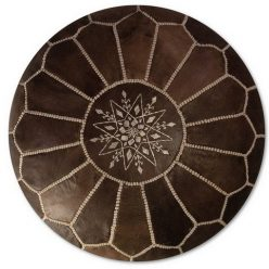 moroccan leather pouf wood brown