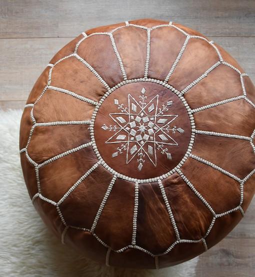 moroccan leather pouf cognac brown 1