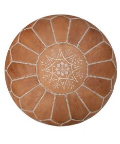 leather pouf moroccan natural brown