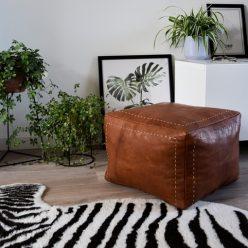 square leather pouf cognac brown