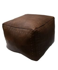 square leather pouf moroccan