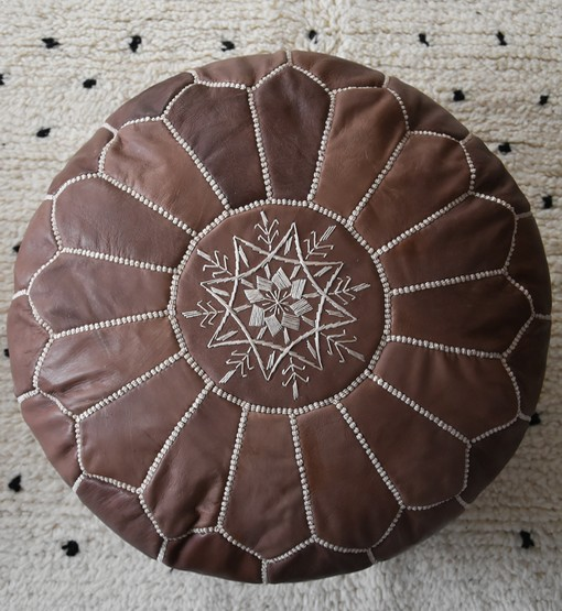 moroccan wood brown leather pouf