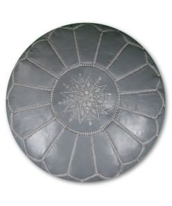 moroccam leather pouf grey