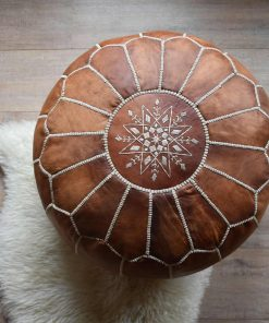 moroccan leather pouf brown cognac