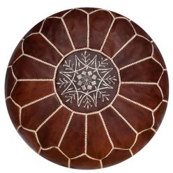 leather pouf honey brown