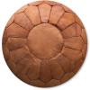 premium cognac leather pouf