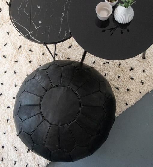 premium leather pouf black interior