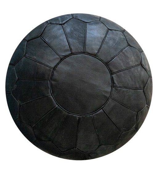 premium leather pouf black