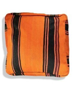 orange kilim pouf black berber