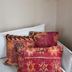 vintage berber pillows on couch