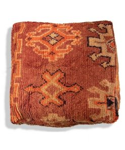 kilim pouf orange moroccan wool