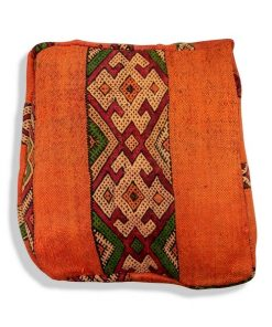 kilim orange pouf berber square