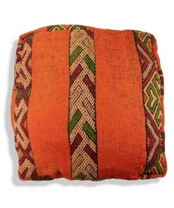 kilim pouf orange berber floor cushion