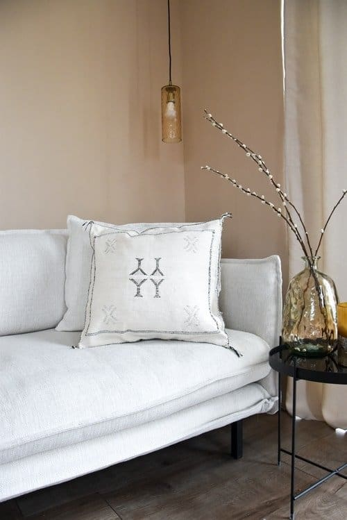 white sabra pillow on the couch