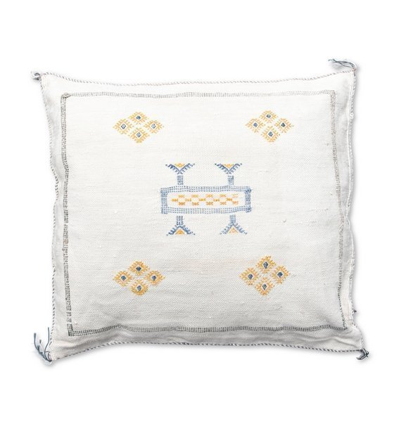 moroccan sabra pillow white and yellow