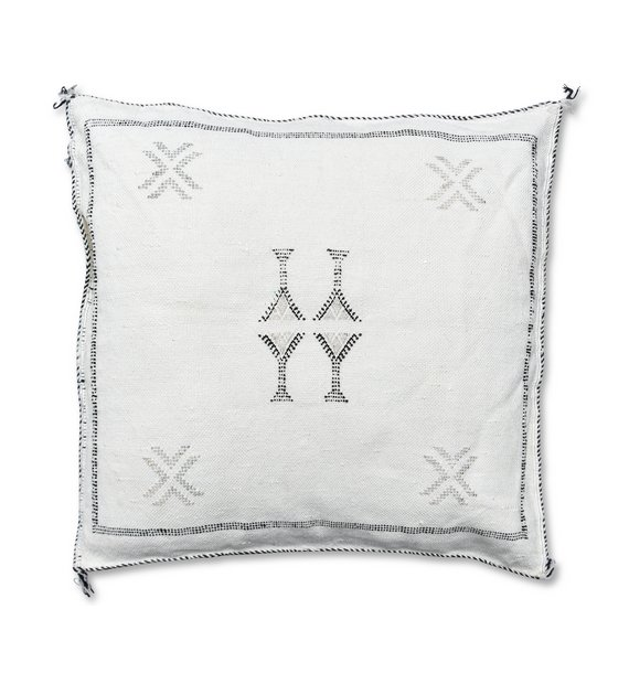 moroccan sabra pillow white and grey