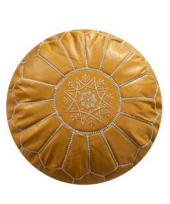 moroccan leather pouf yellow