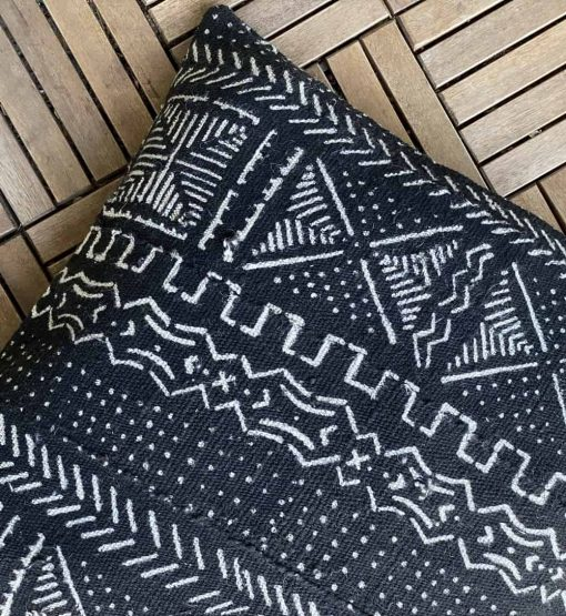 black mudcloth african pillow