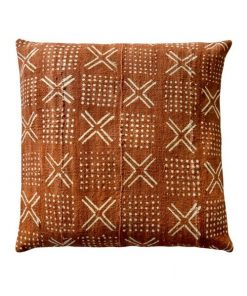 african mudcloth pillow brown