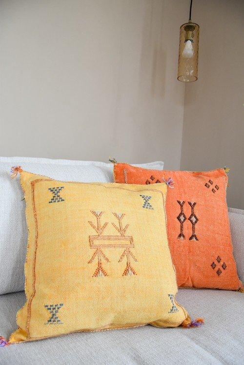 sabra pillow yellow and orange
