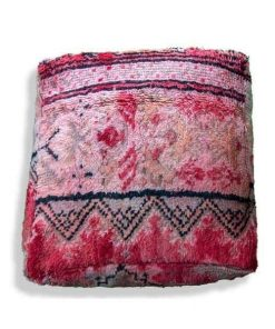 vintage red kilim pouf wool