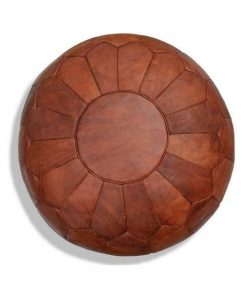 table leather pouf brown cognac