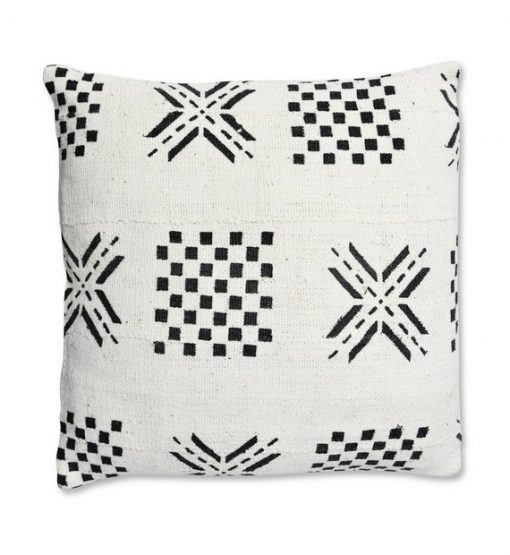 african mudcloth pillow white and black