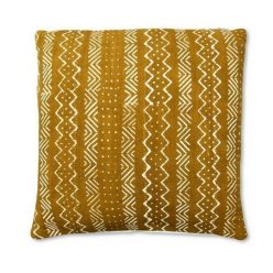 african mudcloth pillow mustard and white