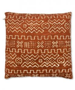 african mudcloth pillow brown and white