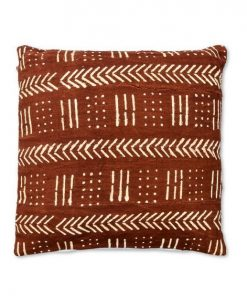 mudcloth african pillow brown and white