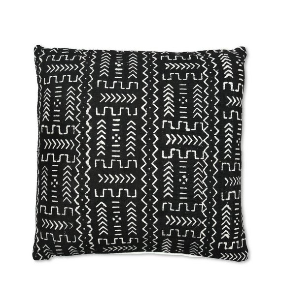 african mudcloth pillow black and white