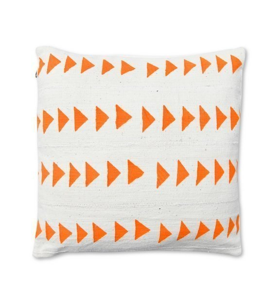 african mudcloth pillow white and orange