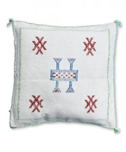 moroccan sabra pillow white and red