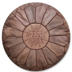 moroccan leather pouf full brown