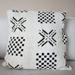 mudcloth white and black pillow