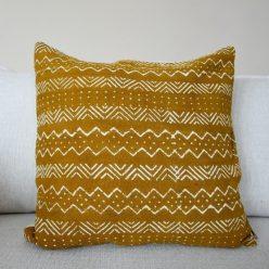 mudcloth pillow mustard