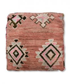 berber kilim pouf pink