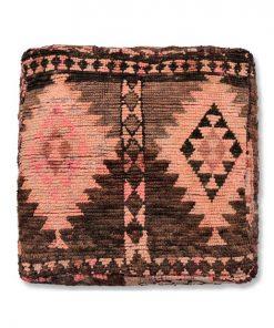 berber kilim pouf brown and pink